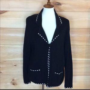 Diane Von Furstenberg black cotton cardigan Medium